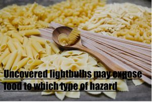 google search results: Uncovered lightbulbs may expose food to which type of hazard